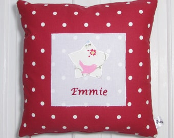 Personalised Childrens Cushion,Red, Cushion, Nursery, Kids,Child,Gift, Home Decor, Handmade, Fabric, Home, Home and Garden, Free Postage