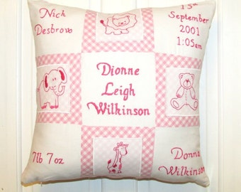 Personalised Baby Cushion with Parents Name, Children, Nursery, Christening, Personalised ,Home Decor, Handmade, Home, Free Postage