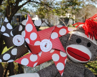 Set of 12 - Sock Monkey theme - coordinating pinwheels