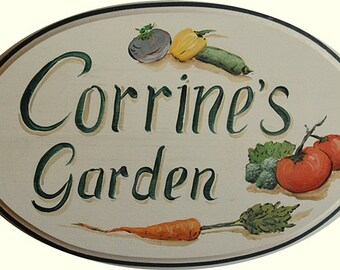 Garden signs - custom hand painted garden plaque vegetable or flower garden