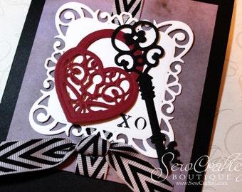 Heart Lock & Key XO Greeting Card - LOVE - Handmade Card