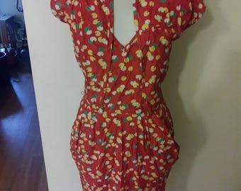 Vintage style 70s does 50s wiggle dress with bolero cherry novelty VLV