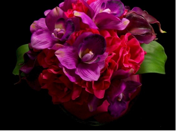 Bridal Purple and Fuchsia  Passion Bouquet