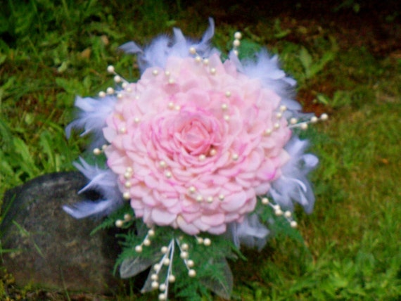 Glamelia Bouquet Cotton Candy Pink Petals, Pearls and Feathers