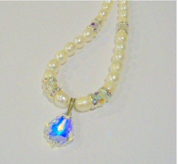 Save 15% - Freshwater Pearl and crystal Bridal necklace