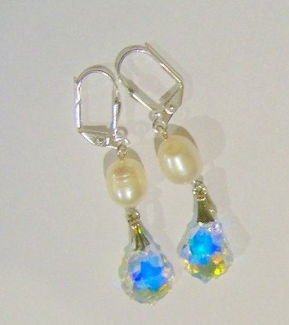 Save 15% - Freshwater pearl and Swarovski crystal earrings