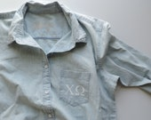 New Chi Omega Button Down Jean Shirt Size MEDIUM Ready to Ship Only One