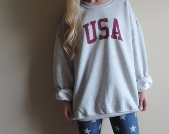 New Classic USA Ash Gray Crewneck Sweatshirt Pullover with Maroon Ink // Size S-2XL