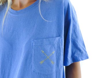 New Comfort Colors Gold Arrow Crossed Pocket Tee T-shirt // Sizes S-2XL // You Pick Color