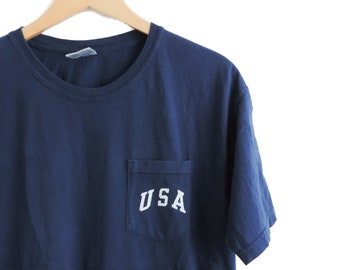 d143d9c4 New USA Comfort Colors Pocket Tee T-shirt // White Ink // Sizes S-2XL //  You Pick Color