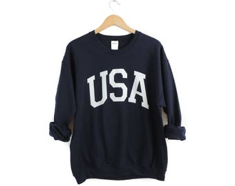 6dd97edf7db New USA Big Letter Retro Navy   White Crewneck Sweatshirt Pullover    Size  S-2XL