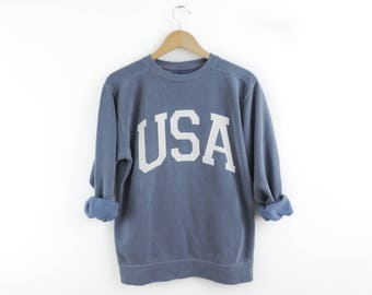New Big USA Retro Comfort Colors Blue   White Crewneck Sweatshirt Pullover     You Pick Color    Size S-3XL ef405ace02d
