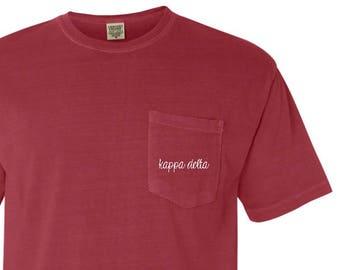 64ab4405cc New Kappa Delta Comfort Colors Simple Cursive Pocket Tee Shirt    Sizes  S-2XL    You Pick Color