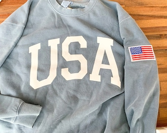 8bc1882c New Big USA Retro WITH Flag Patch Comfort Colors Crewneck Sweatshirt  Pullover // You Pick Color // Size S-3XL