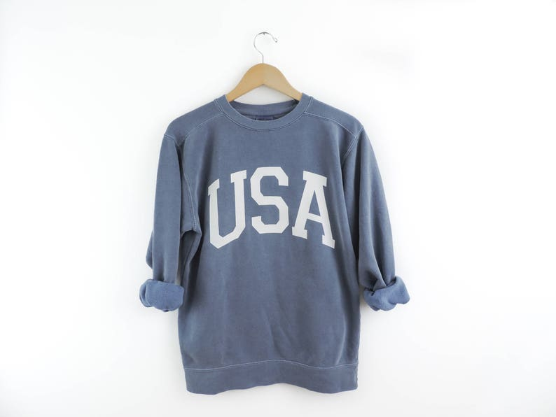 New Big USA Retro Comfort Colors Crewneck Sweatshirt Pullover image 0