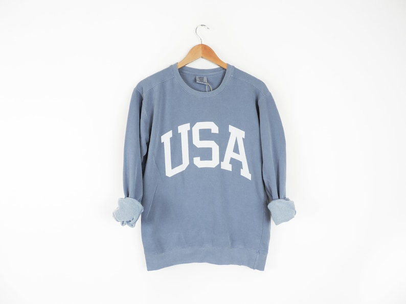 New Big USA Retro Comfort Colors Crewneck Sweatshirt Pullover image 0