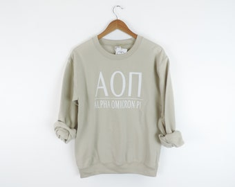 New Alpha Omicron Pi Stripe Crewneck Sweatshirt // Size S-3XL // You Pick Color
