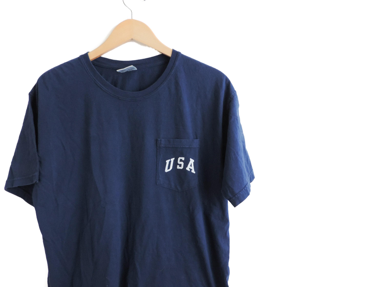 f8d4035af1b New USA Comfort Colors Pocket Tee T-shirt    White Ink