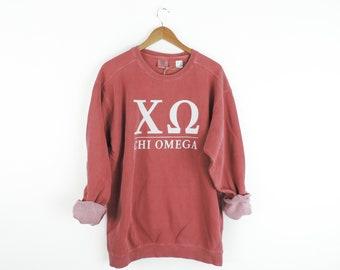 New Chi Omega Comfort Colors Stripe Crewneck Sweatshirt // Size Small-2XL