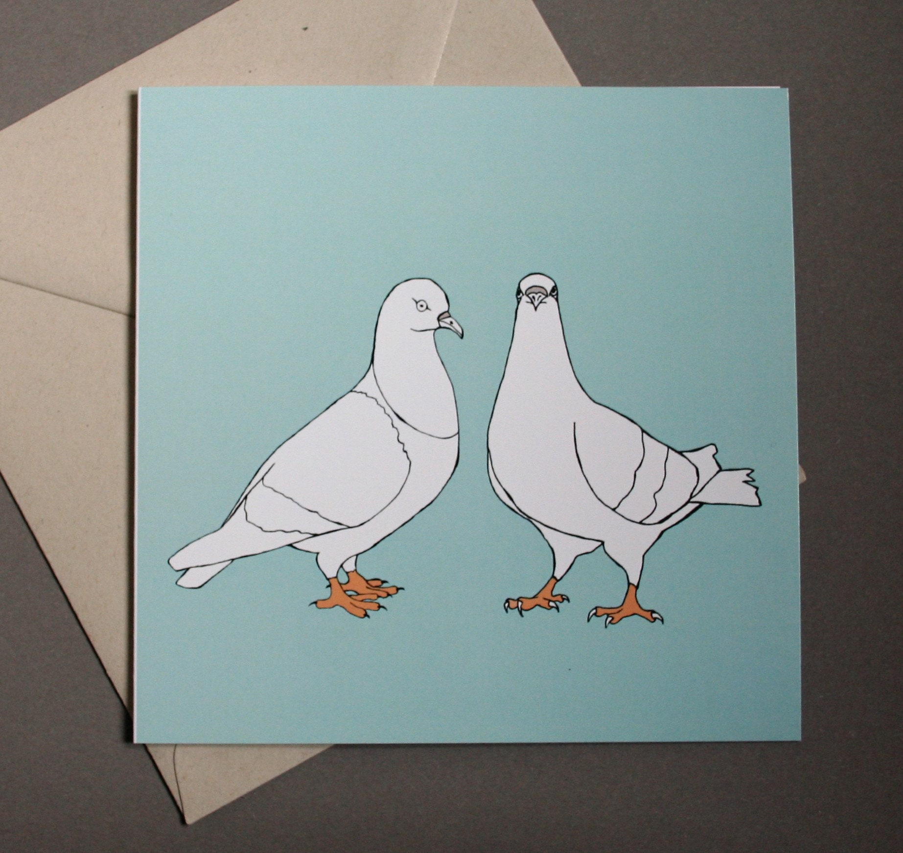 Pigeon Illustration Greetings Card Mint Etsy