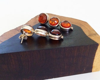 Faceted Earrings in Baltic Amber and Sterling Silver