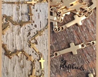 NEW Cross chain Vintage Style High Quality soldered brushed matte gold plated 13x6mm