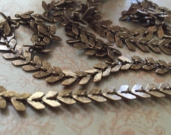 I844 BULK 10 ft chain chevron petite 6.5mm High Quality solid brass antique brass plating CHEVRON chain