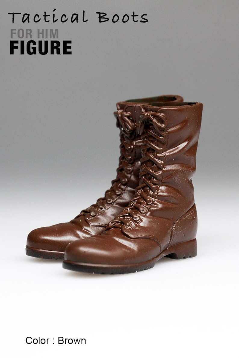 c4b755298828e ms1001-13 Dk. Brown Tactical Boots for 1/6 1 : 6 Figure 12