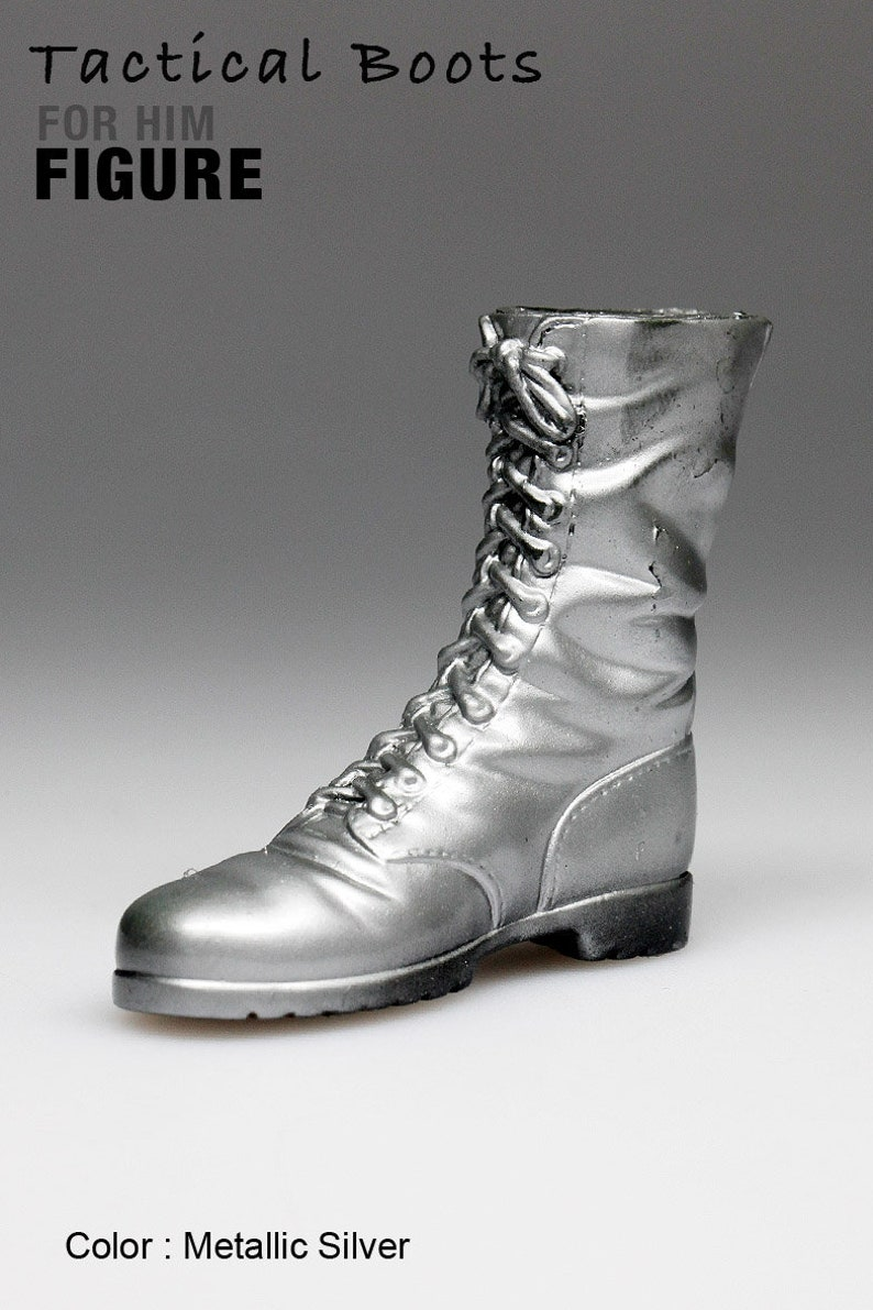 28d6ca7b037fa ms1001-15 Metallic Silver Tactical Boots for 1/6 1 : 6 Figure 12