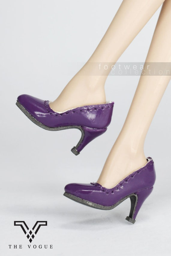 ab8ada77532a6 B464 The Vogue Purple Leather Designer Fashion High Heels Shoes for Fashion  Royalty FR2 Poppy Parker 12