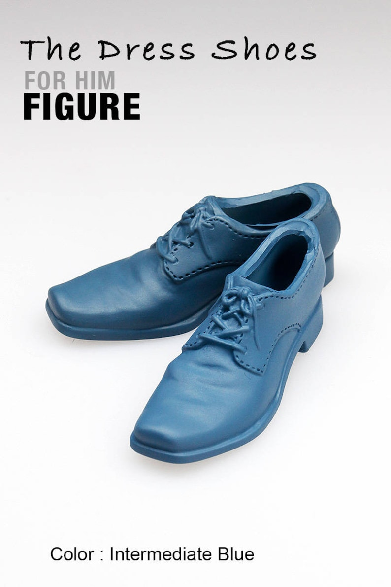 ms1002-07  Intermediate Blue  Dress Shoes for 16 Figure Enterbay Hot Toys TTL 12 Tall Doll Plastic