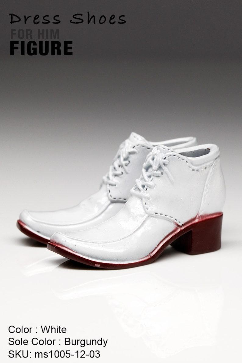 354419cb155ad ms1005-12-03 White Burgundy Dress Short Boots Shoes (Plastic) 1/6 Figure  12