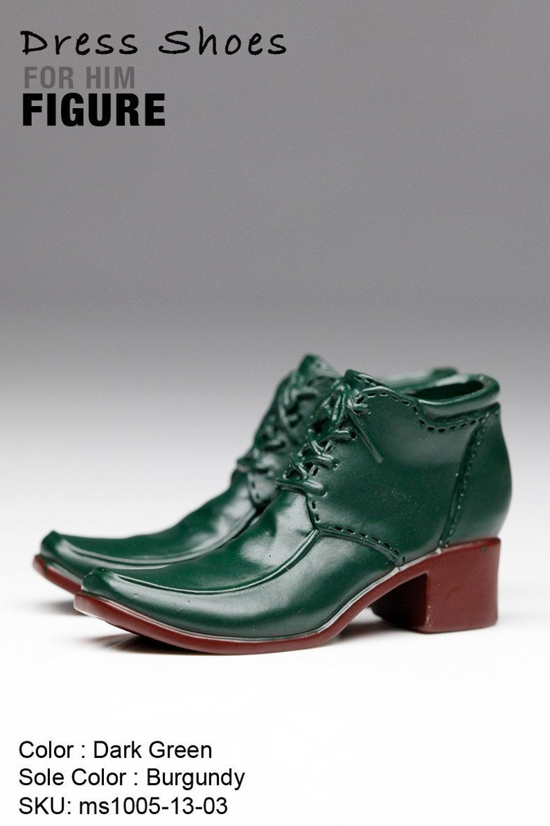 204bd74cc3d5b ms1005-13-03 Dark Green Burgundy Dress Short Boots Shoes (Plastic) 1/6  Figure 12