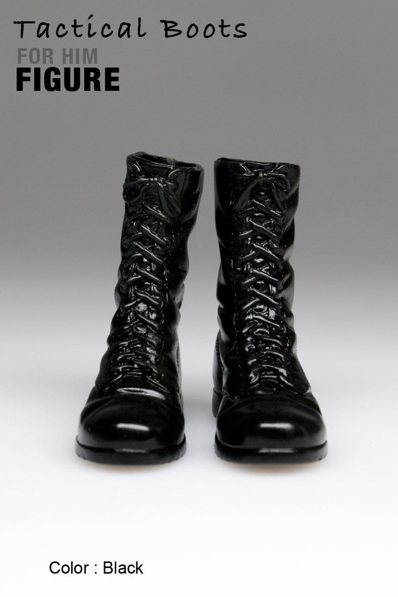 977029dba8297 ms1001-12 Black Tactical Boots for 1/6 1 : 6 Figure 12