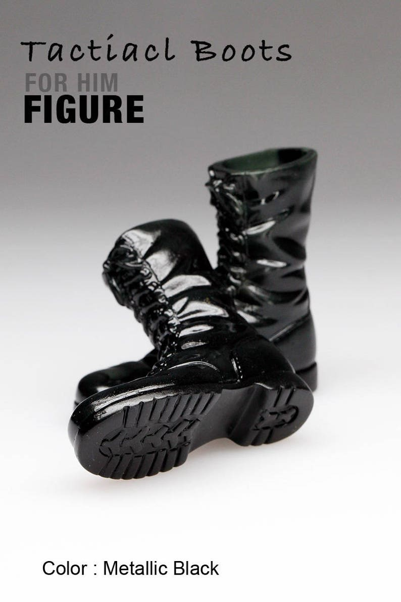 b438066a43ff0 ms1001-04 Metallic Black Tactical Boots for 1/6 1 : 6 Figure 12