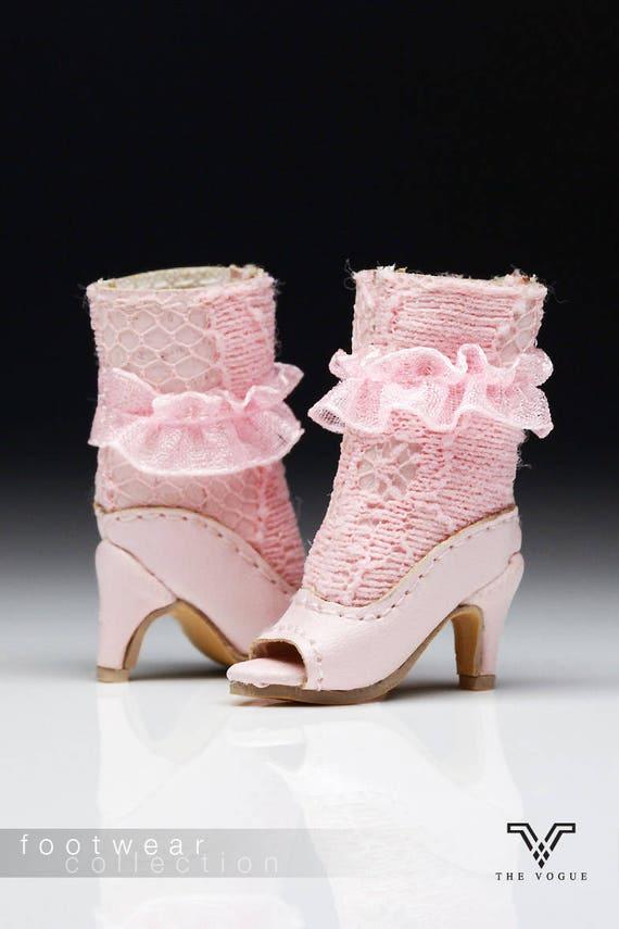 3e33ec2f5f17ae B1017-07 Vogue rosa stilvolle Spitze Leder Fashion Ankle Boots Schuhe für FR