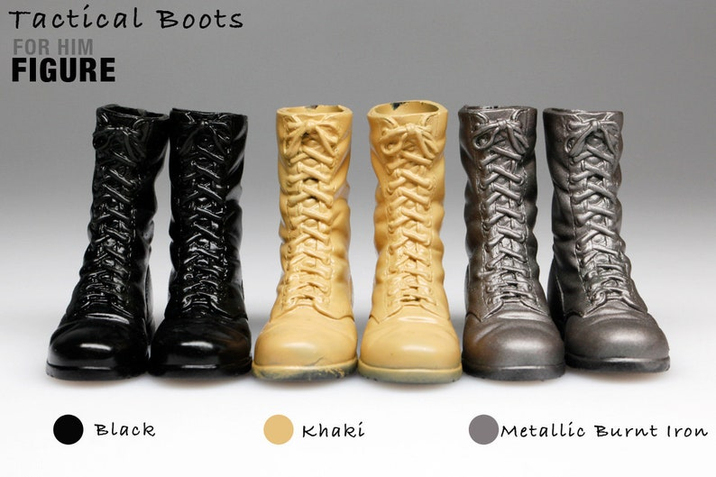 93f1e739db7c9 mss1006 3 Pairs Tactical Boots (Black/ Khaki/ Metallic Burnt Iron) for 1/6  Action Figure 12