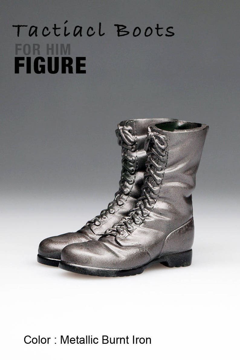 bfc72f3d44d7d ms1001-03 Metallic Burnt Iron Tactical Boots for 1/6 1 : 6 Figure 12