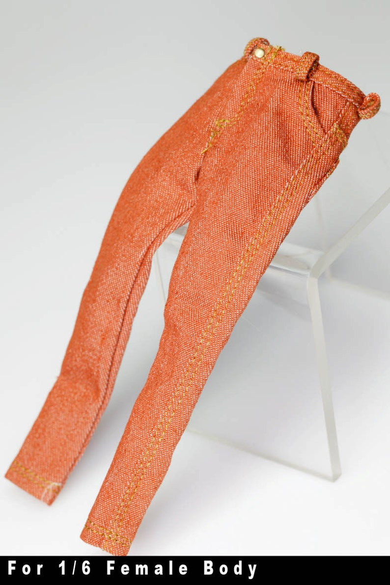 gc0167 Orange Brown slim fit fashion pants Jeans for 16 female action figure 12 Tall Doll
