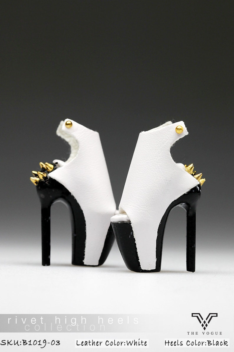 8ff44d75560e2 B1019-03 The Vogue White Black Rivet Fashion High Heels Shoes for Fashion  Royalty FR2 Poppy Parker 12