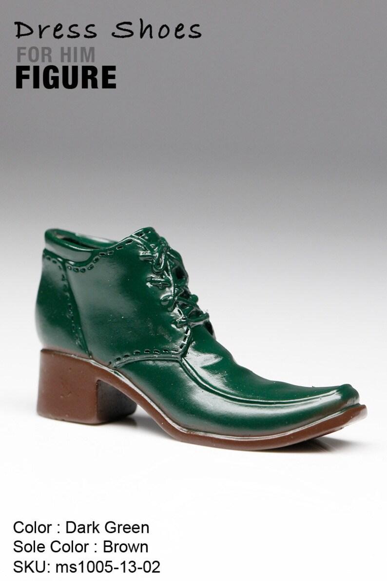 aea569d461762 ms1005-13-02 Dark Green Brown Dress Short Boots Shoes (Plastic) 1/6 Figure  12