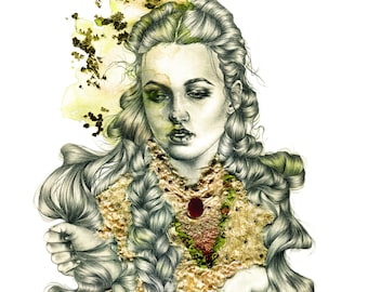 Christina. Mixed media giclee print with hand embellished gold leaf.
