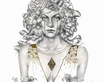 Rowan. Gold leaf painted giclee print from drawing.