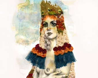 Leda. Mixed media, archival giclee print with hand painted gold leaf embellishment.