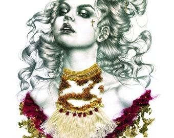 Valentina. Gold leaf embellished giclee print