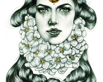 Elise. Graphite, archival ink print with gold leaf accents.