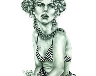 """Hadley. Giclee print from graphite drawing, 11"""" x 14"""""""