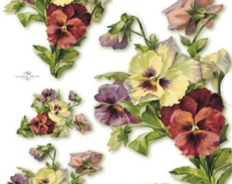 Purple pansy on white Rice Paper for Decoupage Scrapbook Craft Sheet