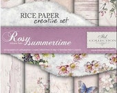 Rice Paper Creative Set for Decoupage, Rosy Summertime