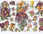 Paper Relief Scraps, Pansies, German, Vintage Victorian Style, Embossed, Die Cut, Decoupage, Altered Art, Scrapbooking, Lithograph, by EF.
